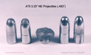 """Projectiles for the .475 3.25"""" NE cartridge."""